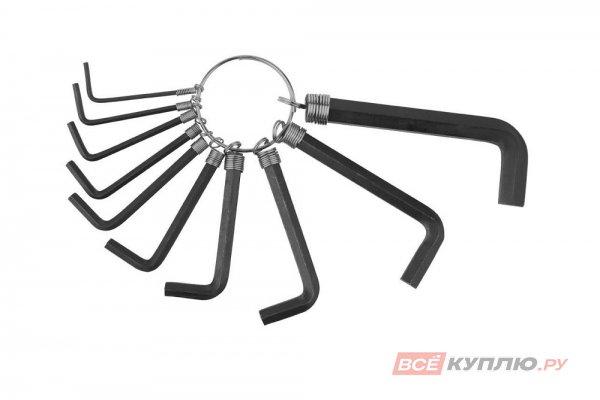 Ключи имбусовые, оксидированные, на кольце DEXX HEX, 1,5-2-2,5-3- 3,5-4-5-5,5-6-8, 10 шт (27403-H10)