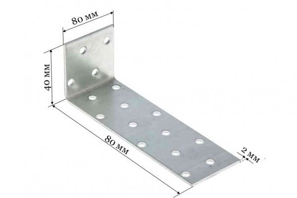 Уголок крепежный анкерный KUL 40*80*40*2 мм