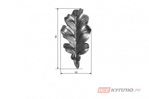 Лист дубовый 95*50 мм ≠2 мм штампованный (1100.01)