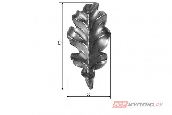Лист дубовый 170*90 мм ≠2 мм штампованный (1106.01)