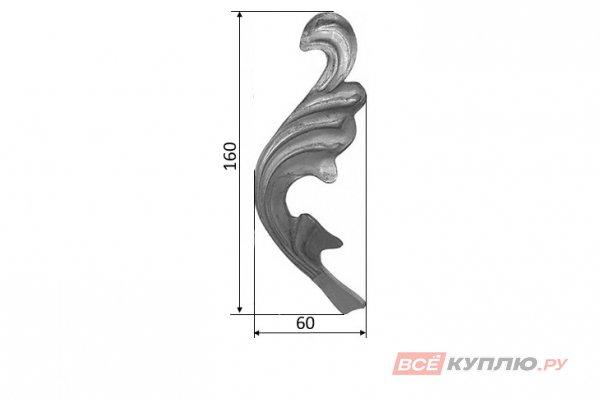 Лист 160*60 мм ≠2 мм штампованный (136/10Р)