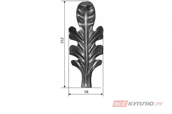 Лист большой 152*58 мм ≠1 мм штампованный (666.03)