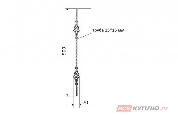 Балясина с двумя корзинками 900*70 мм (труба 15*15 мм)