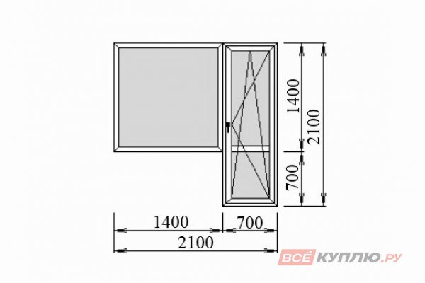 Блок балконный Deceuninck 2100*2100 мм