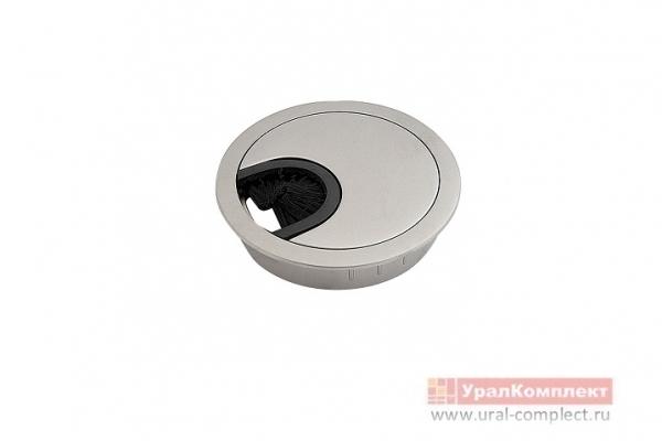 Заглушка мебельная для кабель-канала металлическая D-60 мм алюминий