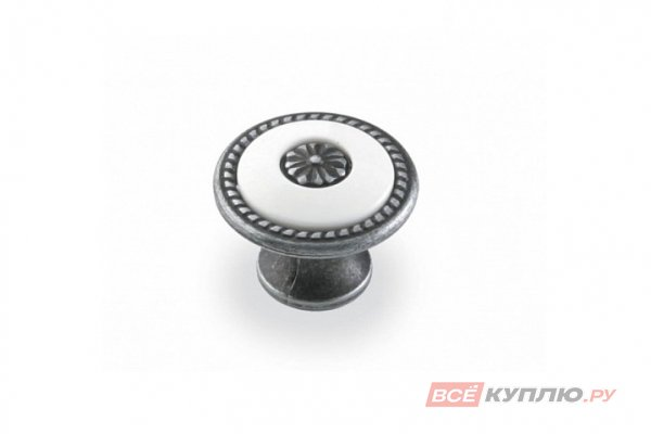 Ручка-кнопка мебельная FB-027 000 старое олово/белый (TS)