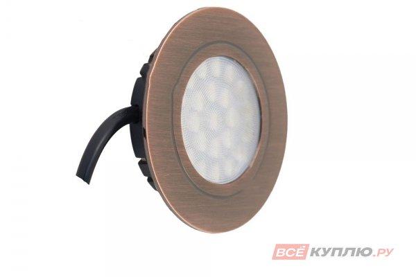 Точечный встраиваемый светодиодный светильник LED Polo 4W, 220V, античная бронза, теплый белый (14028)