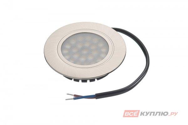 Точечный встраиваемый светодиодный светильник LED Polo 4W, 220V, никель матовый, теплый белый (14027)