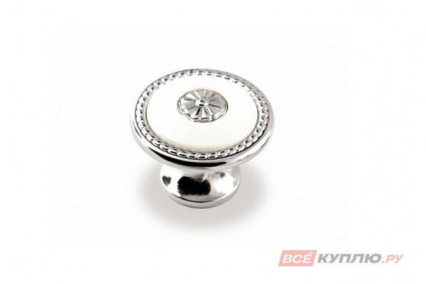 Ручка-кнопка мебельная FB-027 000 Cr глянцевый/белый (TS)