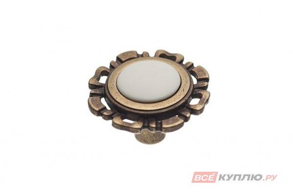 Ручка-кнопка мебельная FB-033 000 бронза полированная/белый (TS)