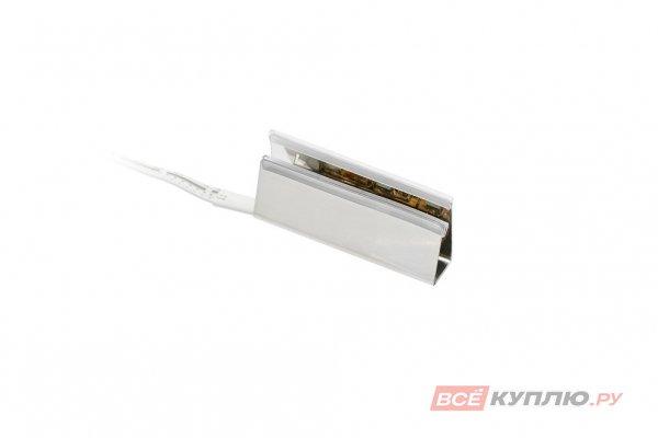 Клипса пластиковая для стеклянной полки светодиодная на стекло 6-8 мм, 3 диода SMD5050 0,6W, 12V, с кабелем 1,5 м и разъемом, RGB