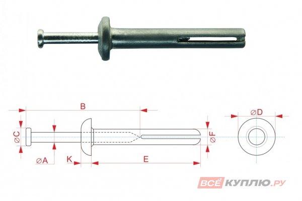 Дюбель-гвоздь HD 6*30 мм
