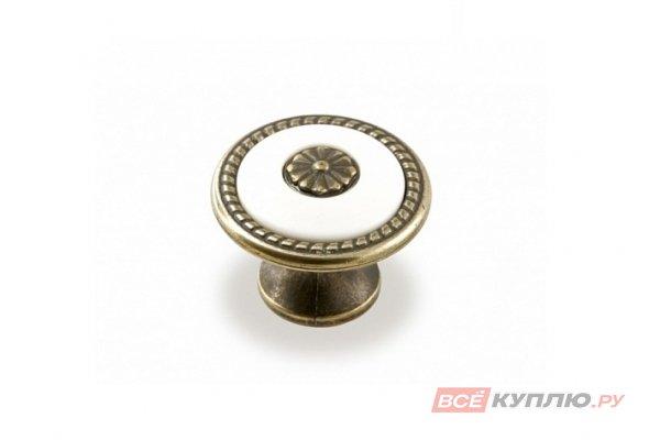 Ручка-кнопка мебельная FB-027 000 бронза полированная/белый (TS)