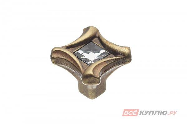 Ручка-кнопка мебельная FB-031 000 бронза полированная/кристалл (TS)