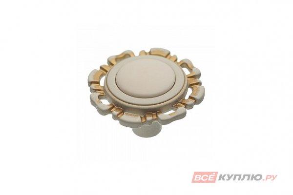 Ручка-кнопка мебельная FB-033 золото прованс/топленое молоко
