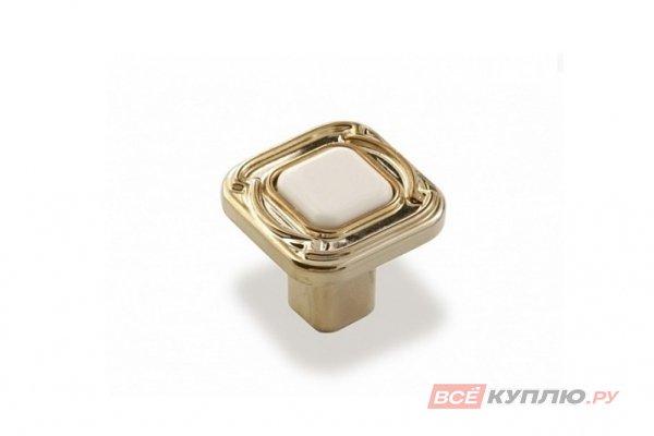 Ручка-кнопка мебельная FB-026 000 Золото/белый (TS)