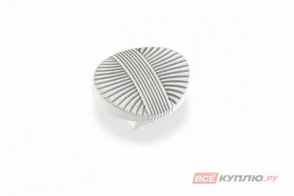Ручка-кнопка мебельная FB-023 000 серебро прованс/9003 белый матовый