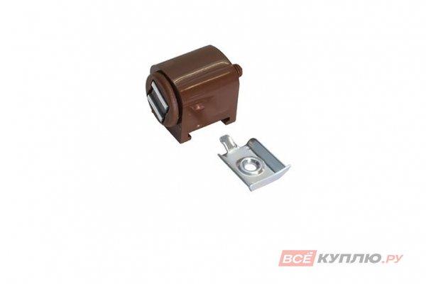 Магнит мебельный накладной К6 регулируемый с ответной планкой коричневый (11.0644)