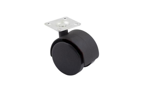 Опора колесная мебельная D-50 мм c пятой без стопора черный