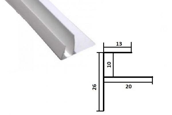 Профиль финишный F- образный для ПВХ панели 3 м  белый