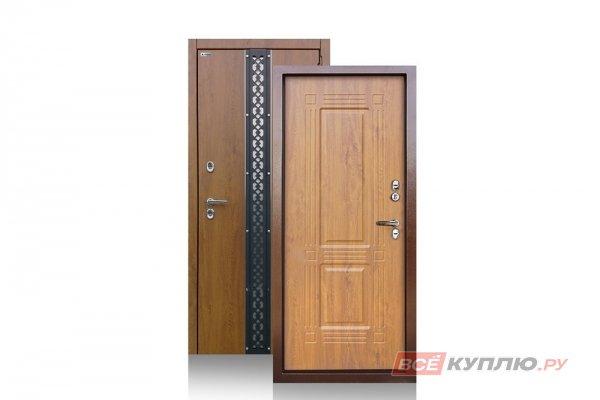 Дверь металлическая уличная Аргус с терморазрывом «ТЕПЛО-1 (2П) ПРОКСИМА» Дуб Янтарный