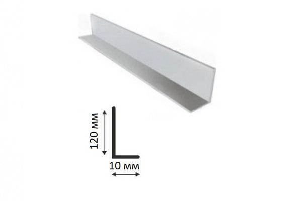 Угол равнополочный ПВХ 120*10*3000 мм белый
